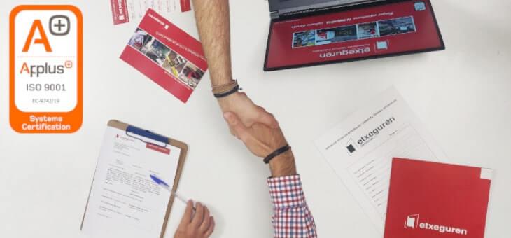 Etxeguren Zerbitzuak se certifica en la ISO 9001:2015 de gestión de calidad por parte de APP+