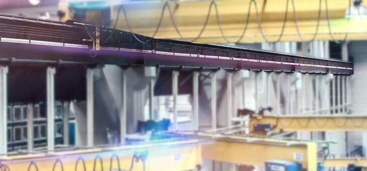 Renovación de los carriles tomacorriente de varias grúas  en una empresa del sector siderometalúrgico