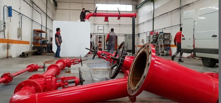 Etxeguren, S.L. realiza el desmontaje ordenado de un banco de pruebas para instalaciones contra incendios